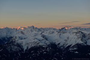 Erste Sonne am Wilden Freiger und der Ruderhofspitze