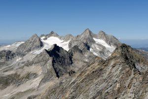 Reichenspitze mit Kuchelmooskees und Rainbachkees gesehen von der Zillerplattenspitze
