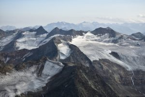 Subaier Wildspitze mit Daunkogelferner und Winndacher Daunkogel mit Sulztalferner gesehen vom Schrankogel