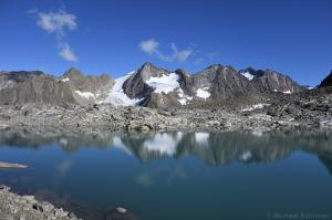 Bergsee, Blick Richtung Östliche, Westliche Seespitze und Ruderhofspitze