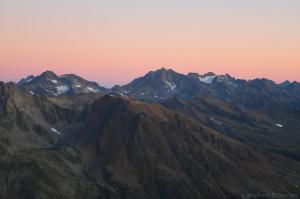 Puitkogel und Hohe Geige bei Sonnenaufgang